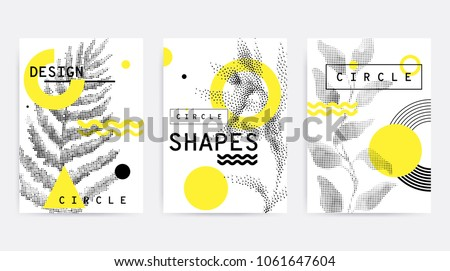 Universal trend poster juxtaposed with bright bold geometric leaves foliage yellow elements composition. Background in restrained sustained tempered style. Magazine, leaflet, billboard, sale