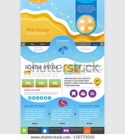 Universal Website design, homepage template. Vector illustration