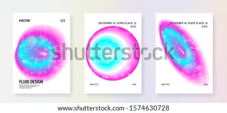 Universe flyer. Holographic gradients. Neon science template set with planets, sun, deep fluid light. 3d magic dreamer unicorn sparkles. Universe flyer with galaxy shapes and star dust.