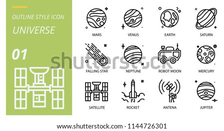 Universe icon pack outline style. Icons for universe,mars,venus,earth,saturn,falling star,neptune,robot moon,mercury,satellite,rocket,antenna,jupiter.