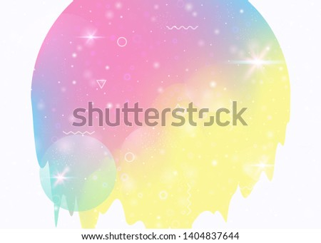 Universe landscape with holographic cosmos and abstract future background. 3d fluid. Futuristic gradient and shape. Neon mountain silhouette with wavy glitch. Memphis universe landscape.