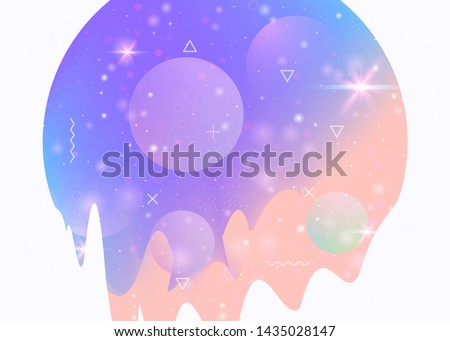Universe landscape with holographic cosmos and abstract future background. 3d fluid. Futuristic gradient and shape. Stylish mountain silhouette with wavy glitch. Memphis universe landscape.