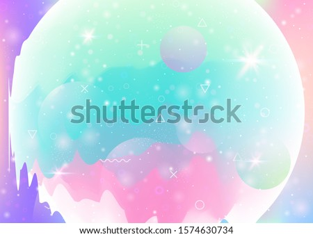 Universe landscape with holographic cosmos and abstract future background. 3d fluid. Futuristic gradient and shape. Bright mountain silhouette with wavy glitch. Memphis universe landscape.