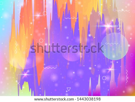 Universe landscape with holographic cosmos and abstract future background. Fluorescent mountain silhouette with wavy glitch. Futuristic gradient and shape. 3d fluid. Memphis universe landscape.