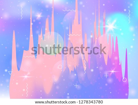 Universe landscape with holographic cosmos and abstract future background. Futuristic gradient and shape. 3d fluid. Iridescent mountain silhouette with wavy glitch. Memphis universe landscape.