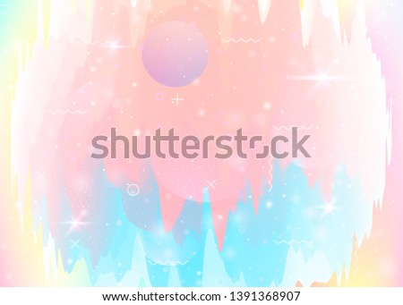 Universe landscape with holographic cosmos and abstract future background. Futuristic gradient and shape. 3d fluid. Fluorescent mountain silhouette with wavy glitch. Memphis universe landscape.