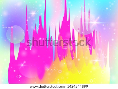 Universe landscape with holographic cosmos and abstract future background. Futuristic gradient and shape. 3d fluid. Neon mountain silhouette with wavy glitch. Memphis universe landscape.