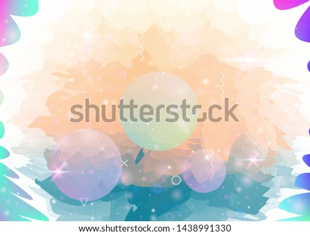 Universe landscape with holographic cosmos and abstract future background. Futuristic gradient and shape. Vibrant mountain silhouette with wavy glitch. 3d fluid. Memphis universe landscape.