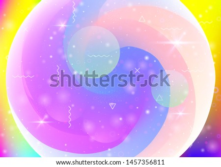 Universe landscape with holographic cosmos and abstract future background. Futuristic gradient and shape. Creative mountain silhouette with wavy glitch. 3d fluid. Memphis universe landscape.