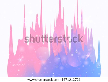 Universe landscape with holographic cosmos and abstract future background. Futuristic gradient and shape. 3d fluid. Minimal mountain silhouette with wavy glitch. Memphis universe landscape.