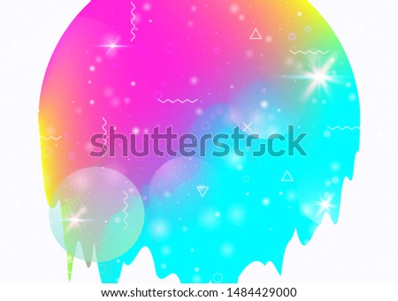Universe landscape with holographic cosmos and abstract future background. Futuristic gradient and shape. Retro mountain silhouette with wavy glitch. 3d fluid. Memphis universe landscape.