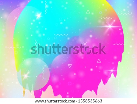Universe landscape with holographic cosmos and abstract future background. Futuristic gradient and shape. 3d fluid. Plastic mountain silhouette with wavy glitch. Memphis universe landscape.