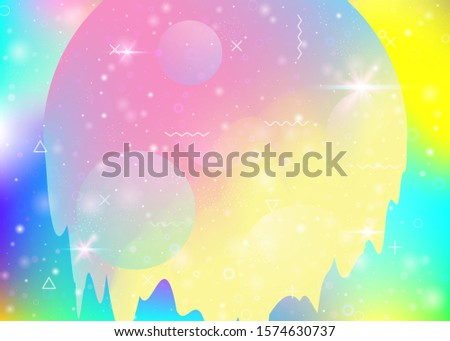 Universe landscape with holographic cosmos and abstract future background. Futuristic gradient and shape. 3d fluid. Hipster mountain silhouette with wavy glitch. Memphis universe landscape.