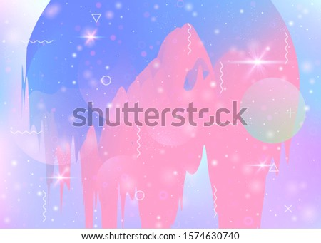 Universe landscape with holographic cosmos and abstract future background. Futuristic gradient and shape. Multicolor mountain silhouette with wavy glitch. 3d fluid. Memphis universe landscape.