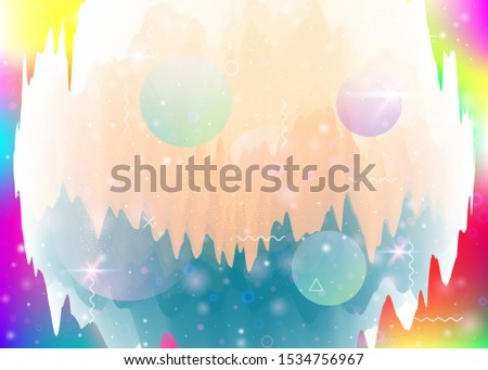 Universe landscape with holographic cosmos and abstract future background. Iridescent mountain silhouette with wavy glitch. 3d fluid. Futuristic gradient and shape. Memphis universe landscape.