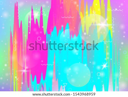 Universe landscape with holographic cosmos and abstract future background. Kawaii mountain silhouette with wavy glitch. 3d fluid. Futuristic gradient and shape. Memphis universe landscape.