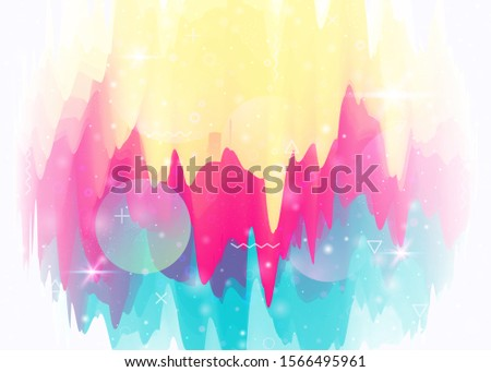 Universe landscape with holographic cosmos and abstract future background. Liquid mountain silhouette with wavy glitch. Futuristic gradient and shape. 3d fluid. Memphis universe landscape.
