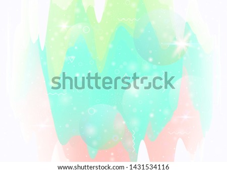 Universe landscape with holographic cosmos and abstract future background. Minimal mountain silhouette with wavy glitch. Futuristic gradient and shape. 3d fluid. Memphis universe landscape.