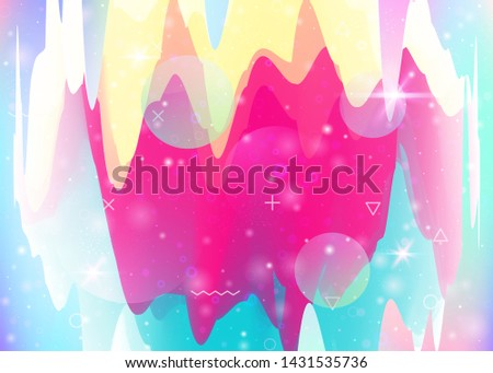 Universe landscape with holographic cosmos and abstract future background. Multicolor mountain silhouette with wavy glitch. Futuristic gradient and shape. 3d fluid. Memphis universe landscape.
