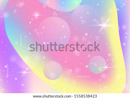 Universe landscape with holographic cosmos and abstract future background. Mystical mountain silhouette with wavy glitch. Futuristic gradient and shape. 3d fluid. Memphis universe landscape.