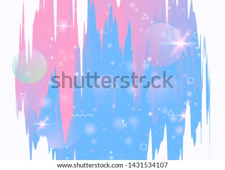 Universe landscape with holographic cosmos and abstract future background. Stylish mountain silhouette with wavy glitch. Futuristic gradient and shape. 3d fluid. Memphis universe landscape.