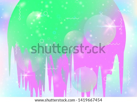 Universe landscape with holographic cosmos and abstract future background. Trendy mountain silhouette with wavy glitch. 3d fluid. Futuristic gradient and shape. Memphis universe landscape.