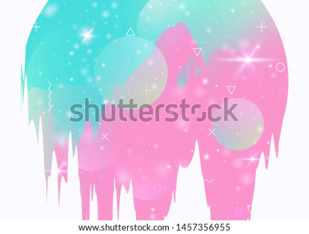 Universe landscape with holographic cosmos and abstract future background. Vibrant mountain silhouette with wavy glitch. 3d fluid. Futuristic gradient and shape. Memphis universe landscape.