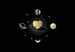 Universe of hearts. Heart or love symbol with planets and stars. Vintage boho magic design style. For spiritual guidance, tarot readers, valentine gift cards.