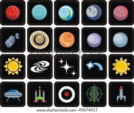 Universe space icon set. Planets solar system