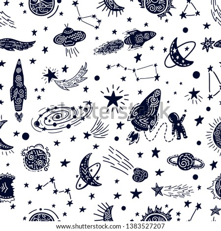 Universe texture design. Stylized night sky seamless pattern with stars, constellations, planets, ufo, rockets, sputnik, comets and other space elements. Hand drawn vector background.