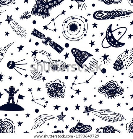 Universe texture design. Stylized night sky seamless pattern with stars, constellations, planets, ufo, rockets, sputnik, comets, astronaut and other space elements. Hand drawn vector background.