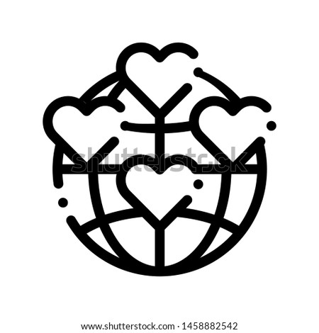 Universe Volunteers Support Vector Thin Line Icon. Volunteers Support, Help Charitable Organizations, Heart World Love Linear Pictogram. People Silhouette Blood Donor Contour Illustration