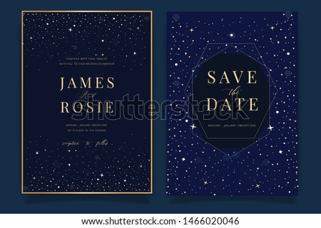 Universe Wedding Invitation, universe invite thank you, rsvp modern card Design in little star light in the sky, space Vector elegant rustic template