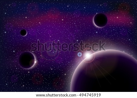Universe with stars, nebula, planets and galaxy. Vector illustration