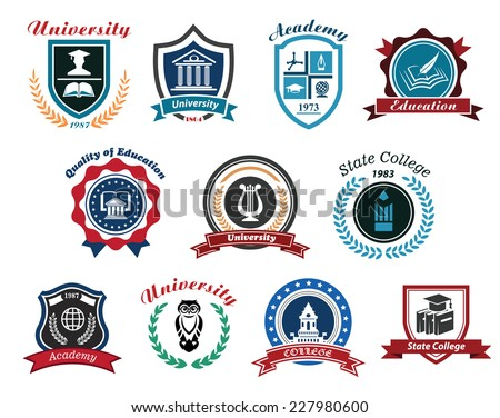University, academy and college emblems or logos set for education industry design. Isolated on white background