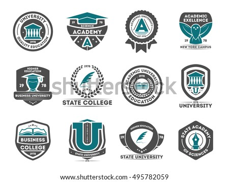 University and college logo, badges, emblems, signs and symbols set, vector illustration. Education and learning