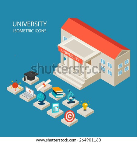 University building and isometric 3d education icons set in flat design style, vector illustration. Includes graduation hat, diploma, laptop, books,  etc.