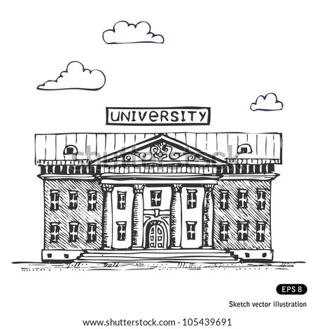 University building. Hand drawn sketch illustration isolated on white background