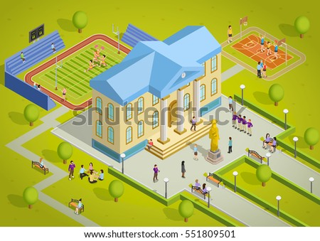 University campus building and sport complex facilities with students isometric view poster vector illustration