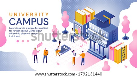 University campus in an education and higher learning concept with building, books, students and mortar board hat for graduation, colored vector illustration. Website template Photo stock ©