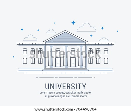 University, College, academy or school building in modern vector style illustration. For web banner or landing page.