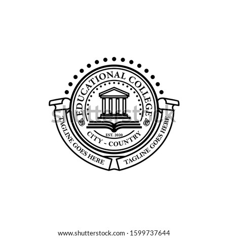 University College School Academy Crest Logo Template Vector Foto d'archivio ©