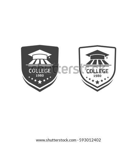 University crests and college school emblems logotypes set vector logos isolated on white
