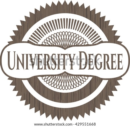 University Degree badge with wooden background