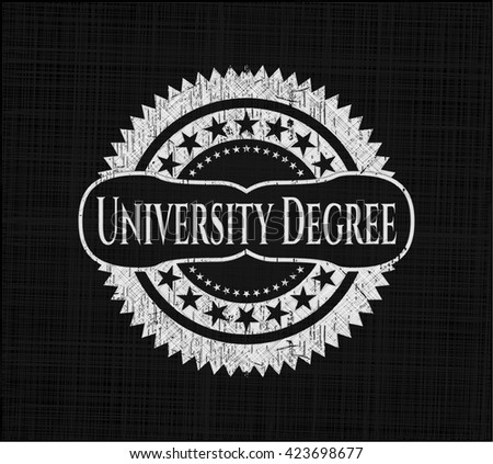 University Degree chalkboard emblem written on a blackboard