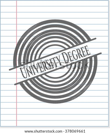 University Degree emblem draw with pencil effect
