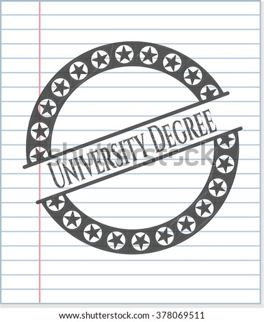 University Degree emblem with pencil effect