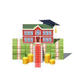 University graduation costs concept. College building with student cap standing on a huge pile of debt cash money and coins.  Modern flat style vector illustration isolated on white background.