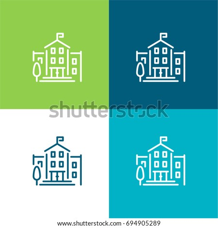 University green and blue material color minimal icon or logo design