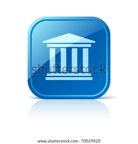 University icon on blue glossy square web button. Vector building symbol. Classical greece roman architecture sign